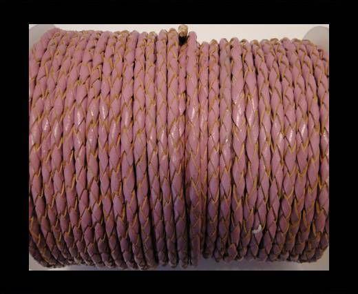 Cordon cuir tressé SE/B/2014 - Pink 6mm