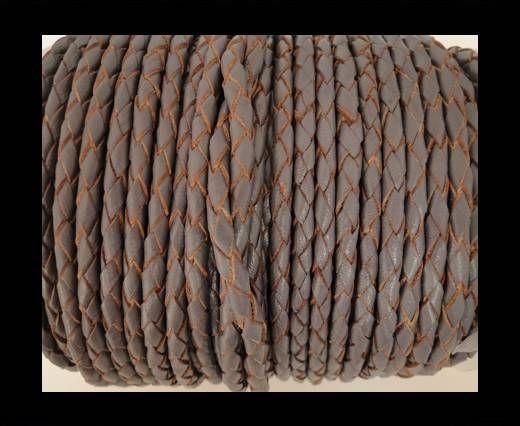 Cordon cuir tressé SE/B/2023 - Violet Plum - 5mm
