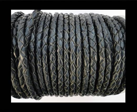 Round Braided Leather Cord SE/B/20-Coal - 5mm