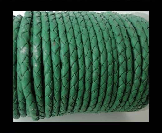 Cordon Cuir tressé SE/B/523 - Moss Green - 6mm