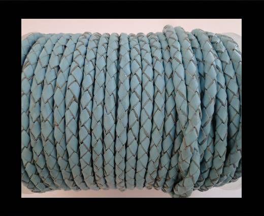 Cordon Cuir tressé SE/B/545 - Blue Clair - 4mm