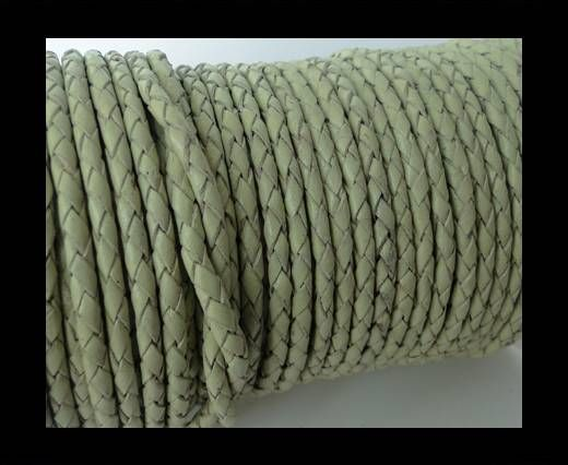 Round Braided Leather Cord SE/B/716-Pastel Lime-5mm