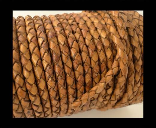 Round Braided Leather Cord SE/DB/02-Cinnamon - 5mm