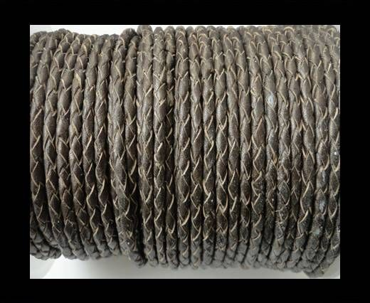 Round Braided Leather Cord SE/M/Bronze-5mm