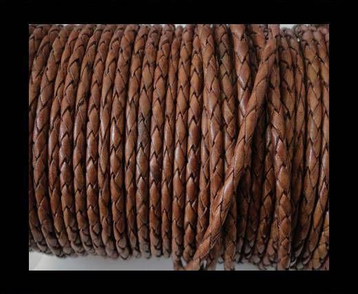 Round Braided Leather Cord SE/PB/10-Walnut - 3mm