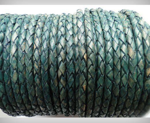 Cordon Cuir tressé - SE/PB/15 - Vintage Vert Bleu- 4mm