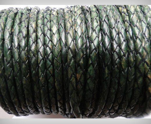 Cordon Cuir tressé - SE/PB/19 - Vintage Vert Bouteille - 4mm
