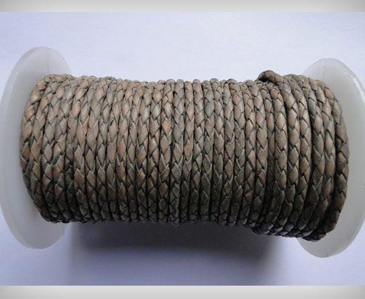 Cordon Cuir tressé - SE/PB/Vintage Grey - 6mm
