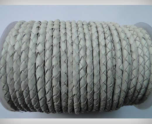 Round Braided Leather Cord SE/B/05-White - 8mm