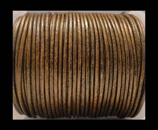 Cordon Cuir Rond SE/R/Bronze Métallique - 2mm