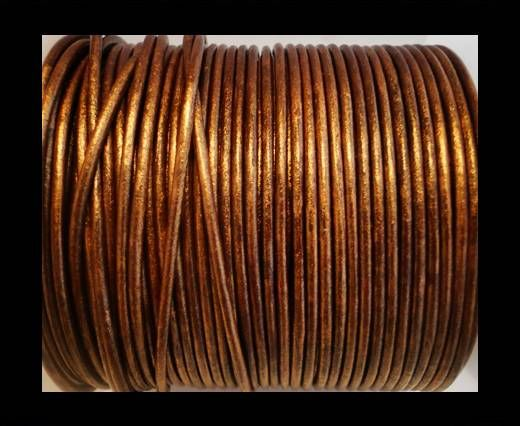 Round Leather Cord SE/R/Metallic Copper - 3mm