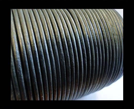Cordon Cuir Rond SE/R/Gris Métallique - 2mm