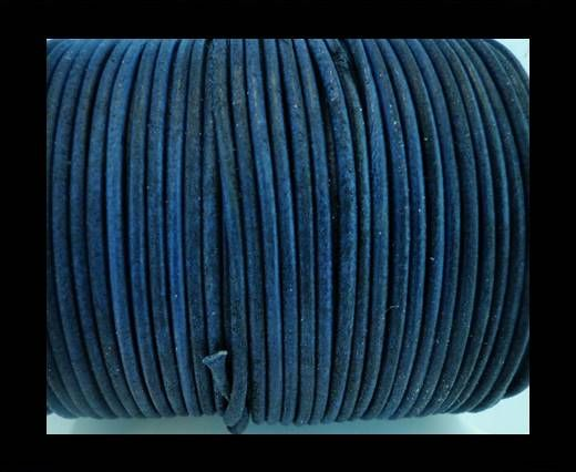 Cordon Cuir Rond SE/R/Vintage Bleu- 2mm