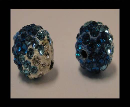Shamballa - 10mm - Tri zircon bleu