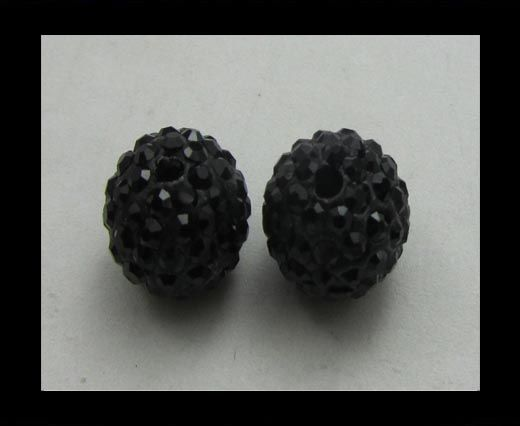 Perle Shamballa - 12mm - Quartz noir