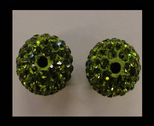 Perle Shamballa - 12mm - Vert olive