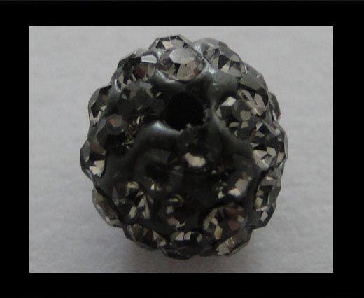 Perle Shamballa - 6mm - Diamant noir