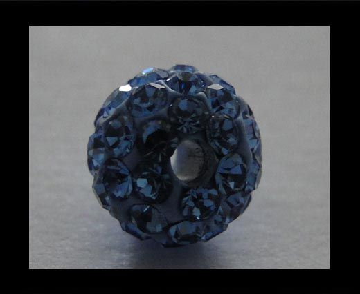 Perle Shamballa - 6mm - Saphir clair