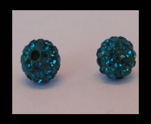 Perle Shamballa - 8mm - Bleu zircon