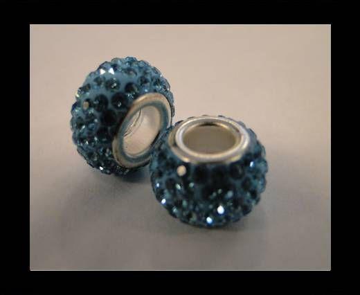 Perle Shamballa - Trou large - Turquoise