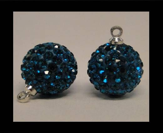 Perle Shamballa avec boucle - 10mm - Bleu zircon