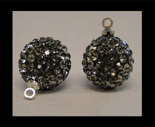 Perle Shamballa avec boucle - 14mm - Diamant noir