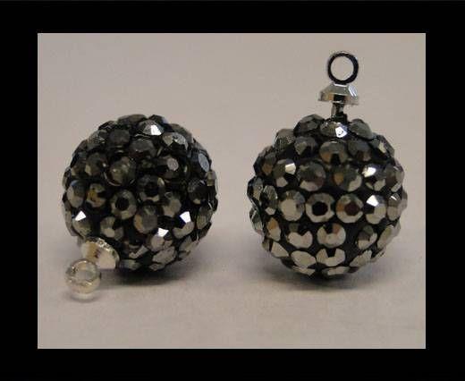 Perle Shamballa avec boucle - 14mm - Hematite