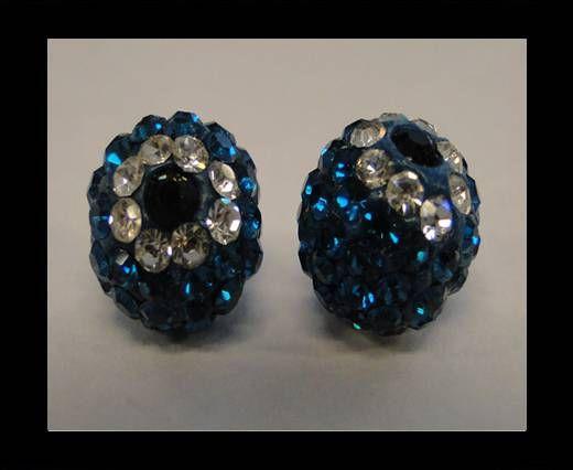 Fleur Shamballa - 10mm - Bleu zircon