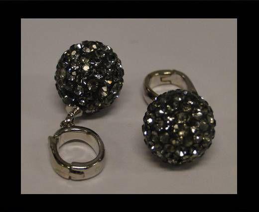 Perle Shamballa avec crochet - 10mm - Diamant noir