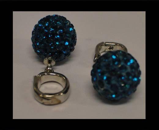 Perle Shamballa avec crochet - 10mm - Bleu zircon