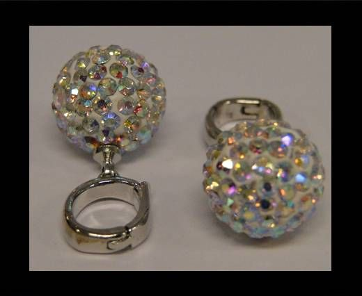 Perle Shamballa avec crochet - 10mm - Cristal AB