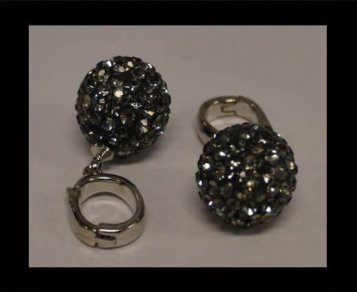 Perle Shamballa avec crochet - 12mm - Diamant noir