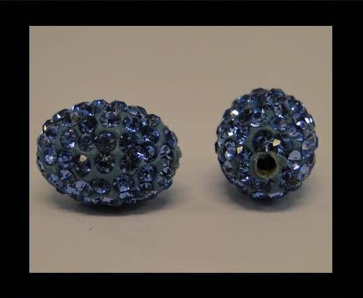 Perle Shamballa ovale - Saphir clair
