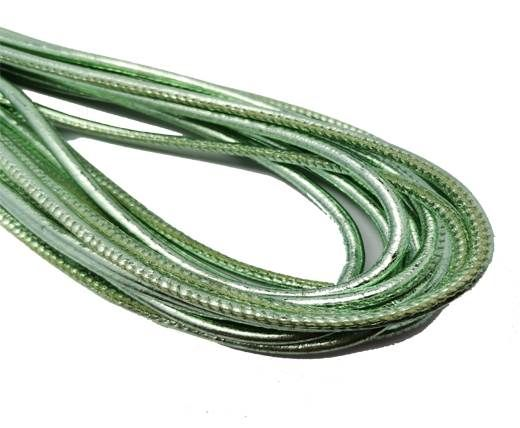 Round Stitched Nappa Leather Cord-4mm-shiny resed green