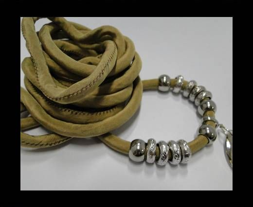 Real silk cords with inserts - 8 mm - Beige