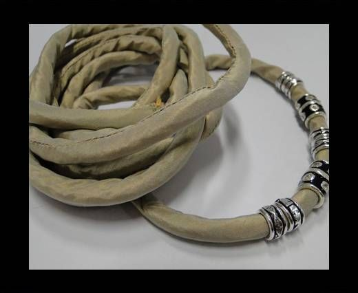 Real silk cords with inserts - 8 mm - Camel