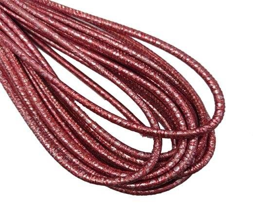 Round Stitched Nappa Leather Cord-4mm-silver raspberry red