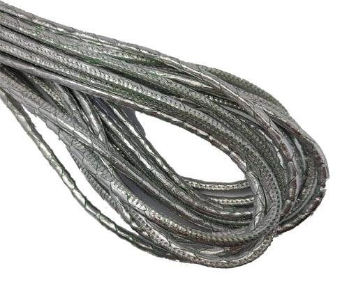 Round Stitched Nappa Leather Cord-4mm-silver snake