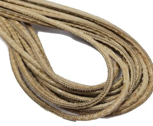 Round Stitched Nappa Leather Cord-4mm-snake lizard style beige