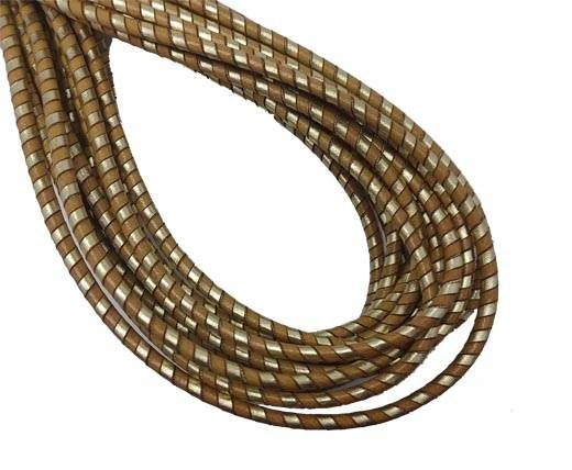 Round Stitched Nappa Leather Cord-4mm-spiral beige gold