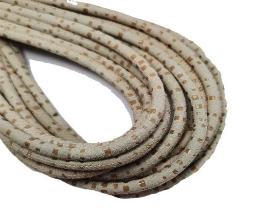 Round Stitched Nappa Leather Cord-4mm-spyral style beige