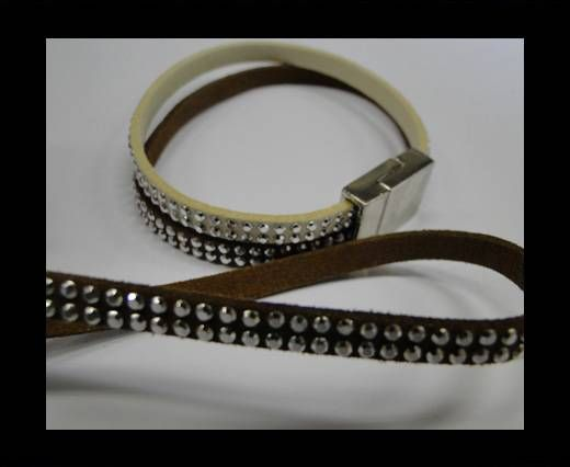 Suede Cord with studs-5mm-Silver-Brown