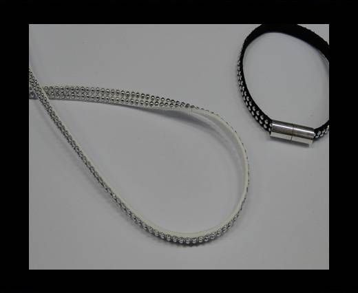 Suede Cord With Silver Studs-5mm-White
