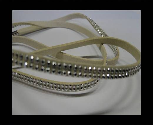 Suede Cord With Silver Shiny Studs-5mm-Beige