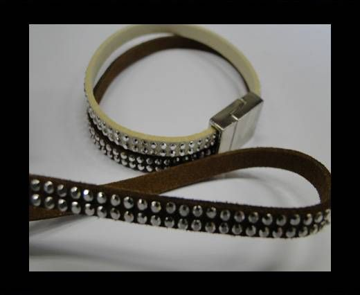 Suede Cord With Silver Shiny Studs-5mm-Brown