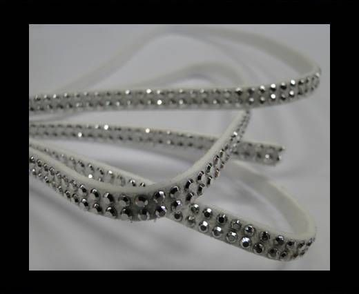 Suede Cord with Silver Shiny Studs-5mm-White