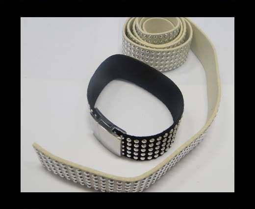 Suede Cord with Studs-20mm-5layers-Cream