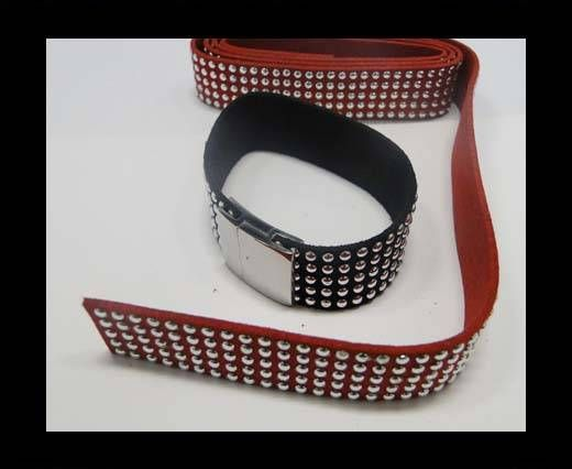 Suede Cord with Studs-20mm-5layers-Red