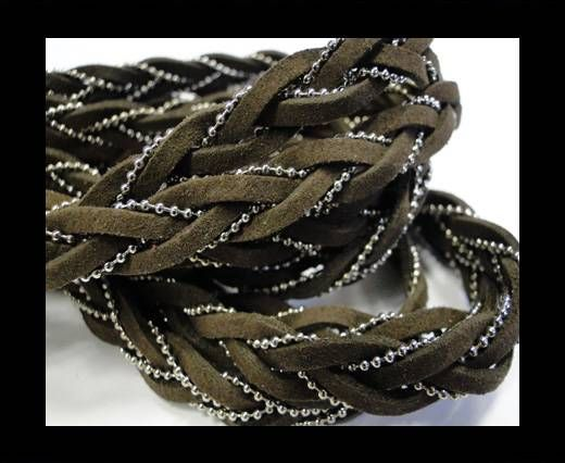 Suede cords with chains-10mm-coffee