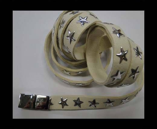 Suede Cords with Star Studs 10mm-Beige
